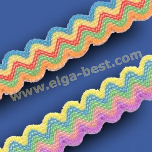 Zigzagband elastisch multicolor
