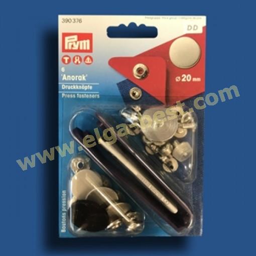 Prym 390376 Naaivrijdrukknoop Amorak MS vlak oud ijzer mat
