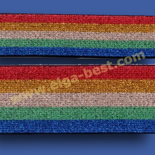 700516 Elastiek met lurex Rainbow