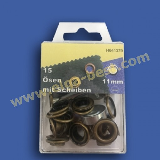 Ogen en ringen RVS oud messing 11mm