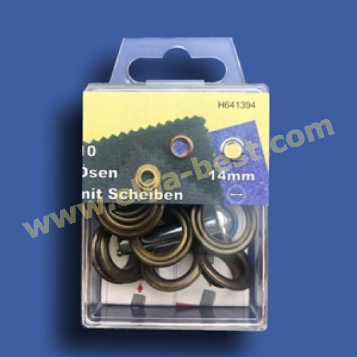 Ogen en ringen RVS oud messing 14mm
