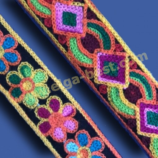 Wol geweven band multicolor 30mm