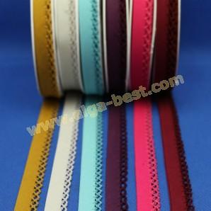 Biasband katoen met kantje uni kleuren