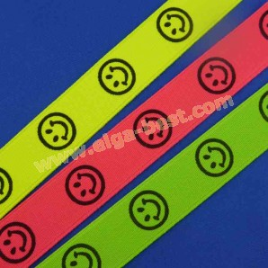 Bretel elastiek smiley neon