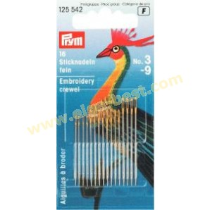 Prym 125542 Embroidery needles Crewel with golden eye assortment no. 3-9