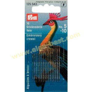Prym 125543 Embroidery needles Crewel with golden eye assortment no. 5-10