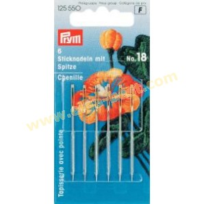 Prym 125550 Embroidery needles with point and goldcoloured eye no. 18