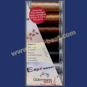Gütermann machine embroidery thread set Coffee