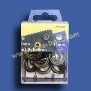 Ringes and eyes rustproof Old brass 14mm