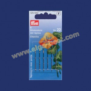 Prym 125552 Embroidery needles with point and goldcoloured eye no. 22