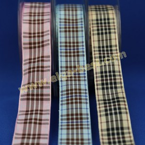 Checkered & striped ribbon Berry Tartan