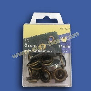 Ringes and eyes rustproof Old brass 11mm