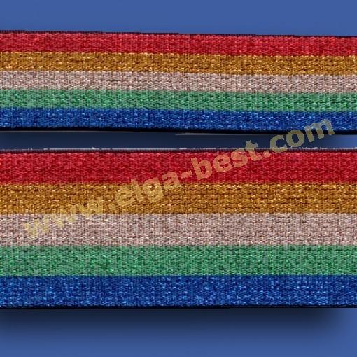 700516 Lurex Gummiband Rainbow