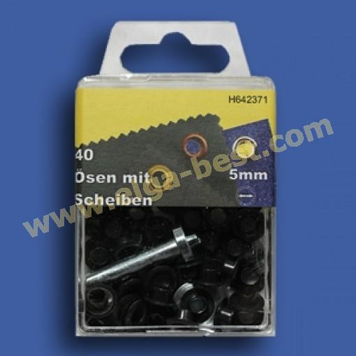Ringe und Augen rostfrei Gun metal 5mm
